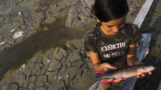 A girl shows a fish she caught on the bed of the Aleixo Lake, in the rural area of Manaus, Amazonas, Brazil, on 23 October 2015. The girl's shirt reads, 'Exército de Deus' ('Army of God'). Photo: Raphael Alves / AFP / Getty Images