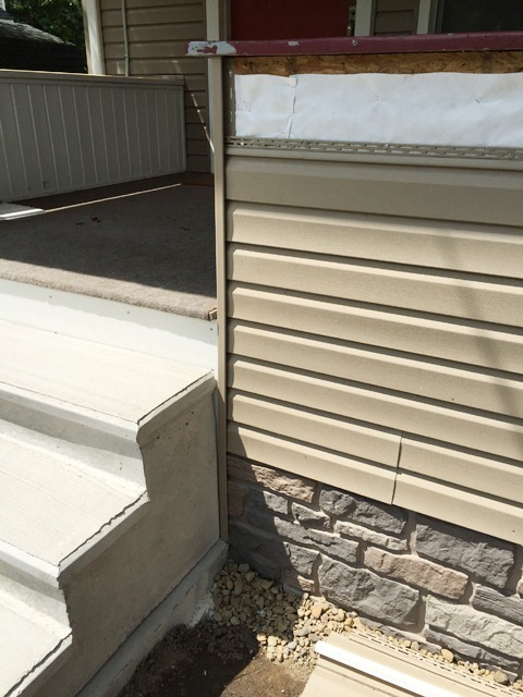 Porch Siding and Faux Stone Panels Edge Detail