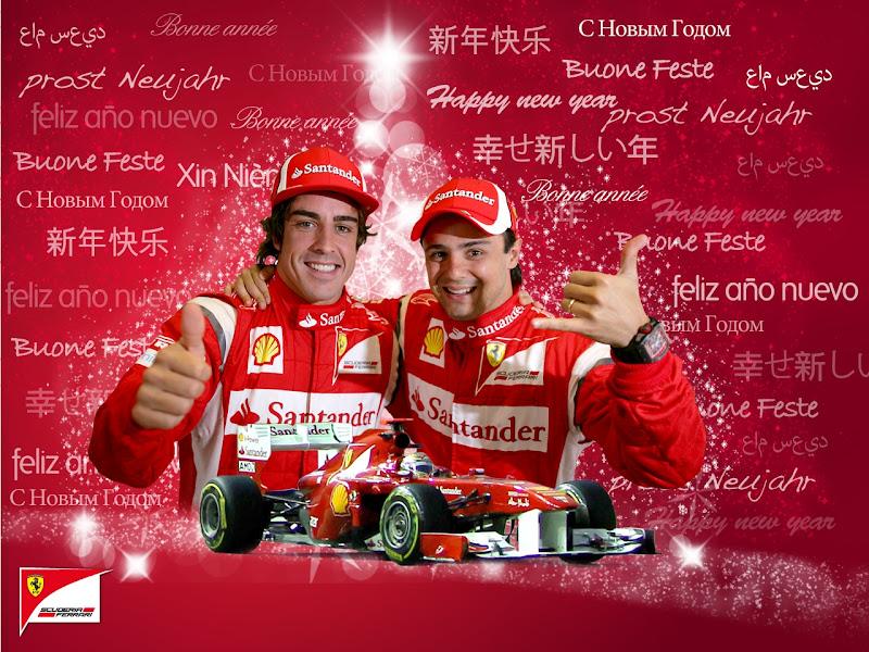 обои Ferrari - Фернандо Алонсо и Фелипе Масса поздравляют с новым годом