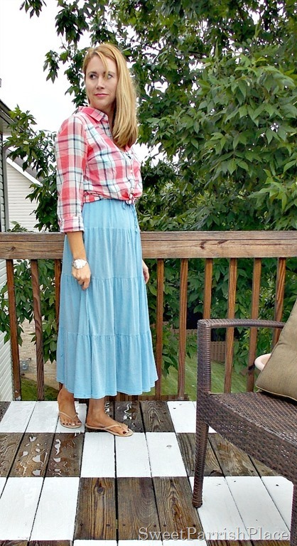 Blue maxi dress, plaid blouse, nude flip flops2
