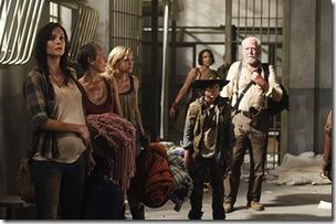 Lori Grimes (Sarah Wayne Callies), Carol (Melissa Suzanne McBride), Beth Greene (Emily Kinney), Maggie Greene (Lauren Cohan), Carl Grimes (Chandler Riggs) and Hershel Greene (Scott Wilson) - The Walking Dead - Season 3, Episode 1 - Photo Credit: Gene Page/AMC
