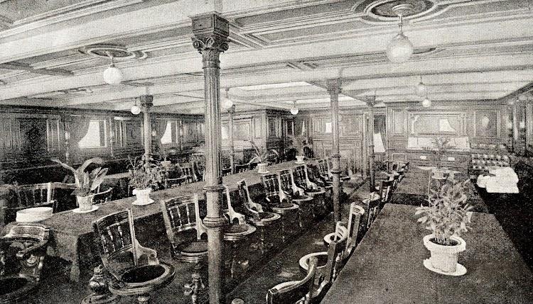 Salón Comedor. Vapor MANUEL CALVO. Foto del LIBRO DE INFORMACION PARA EL PASAJERO. COMPAÑÍA TRASATLANTICA. AÑO 1923.JPG