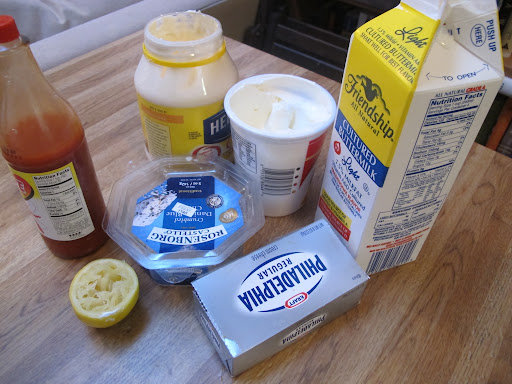 ingredients for blue cheese-cream cheese sauce.