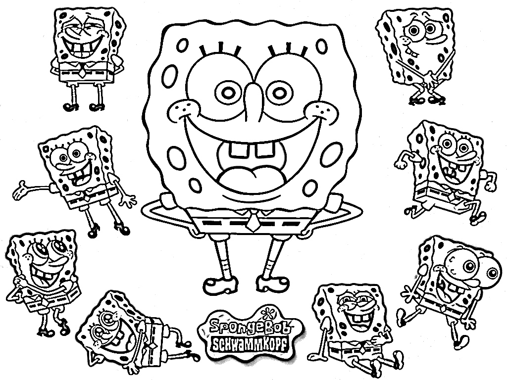 SpongeBob,Patrick,Sandy,Squidward,Mr Krab,Gary Online  - spongebob coloring sheets