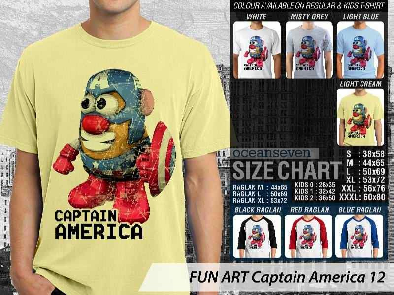 KAOS Captain America 12 Kartun Lucu distro ocean seven