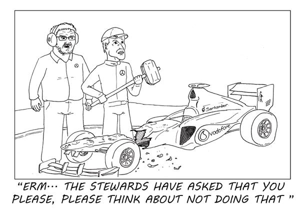Росс Браун сообщает Михаэлю Шумахеру наставления FIA на Гран-при Италии 2011 - комикс Stuart Taylor
