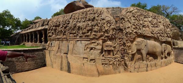 Mamalapuram panorama мамаллапурам панорама барельеф низвержение ганги слоны