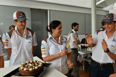 Мониша Кальтенборн угрожает Эстебану Гутьерресу ножом на Гран-при Испании 2014