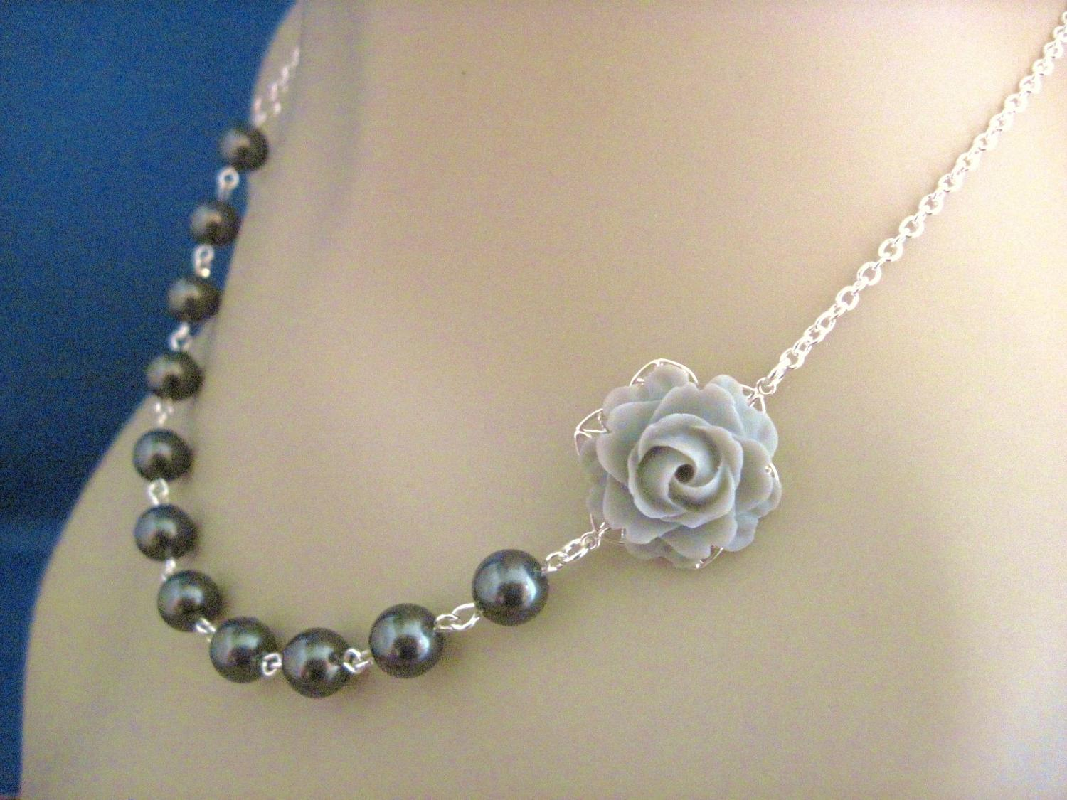 Bridesmaid Necklace Light Gray Rose and Black Pearl Wedding Jewelry