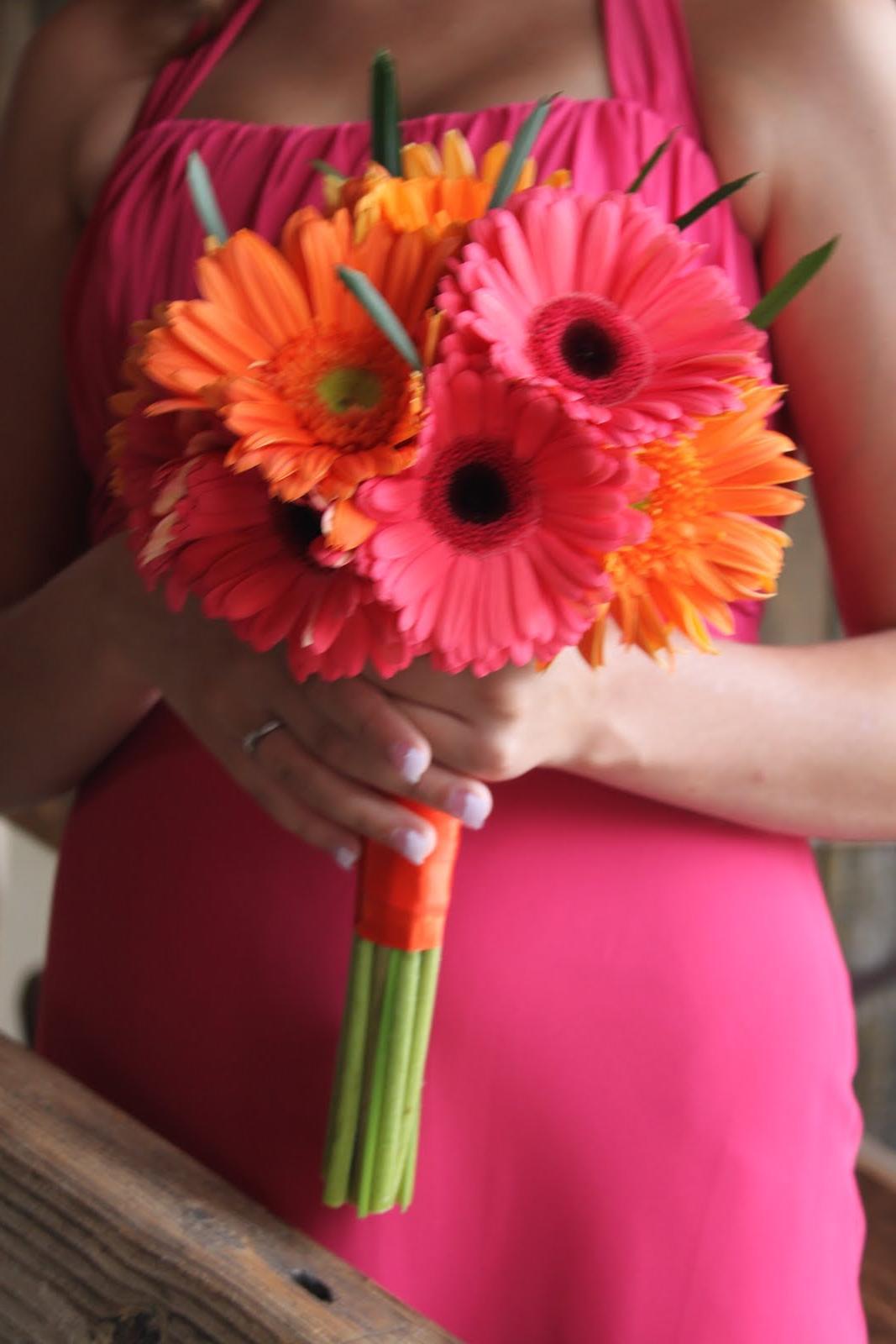 wedding orange gerber daisy