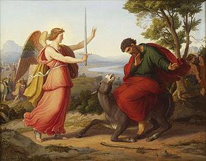 המלאך, בלעם ואתונו. (צויר בידי גוסטב ז'אגר, 1836)