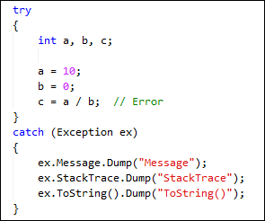 Exception Code Snippet