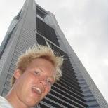 me in front of the yokohama landmark in Yokohama, Tokyo, Japan