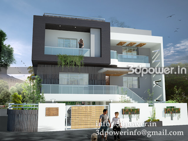 Front View Of 3D Contemporary Bungalow