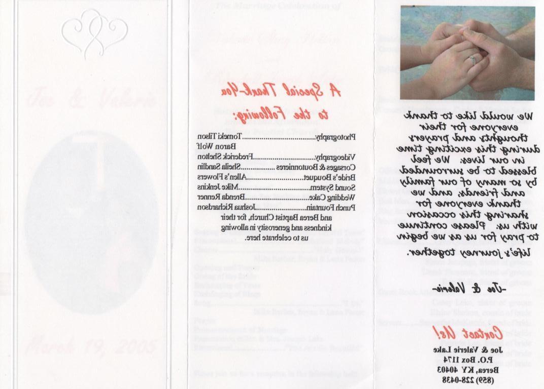 sample wedding program wording