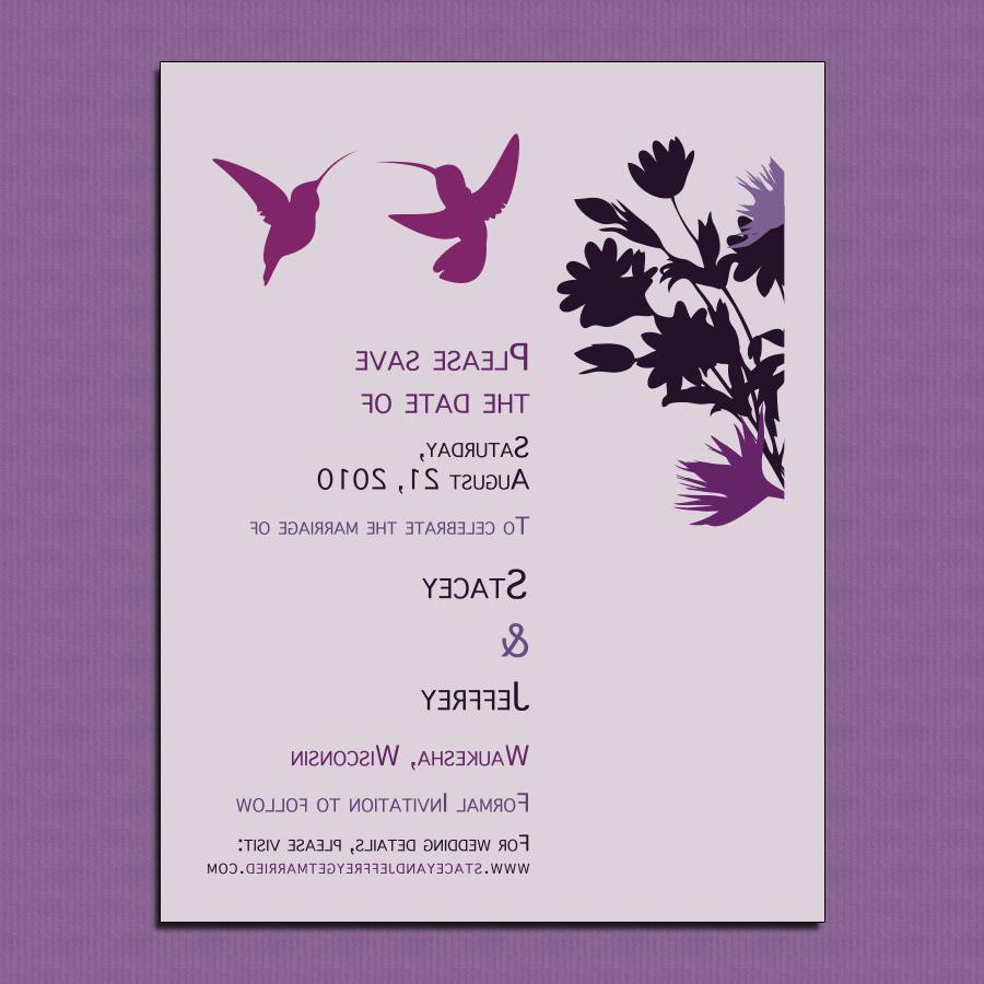 Plum Hummingbirds 100  Recycled Paper Save the Date Cards - Purchase This