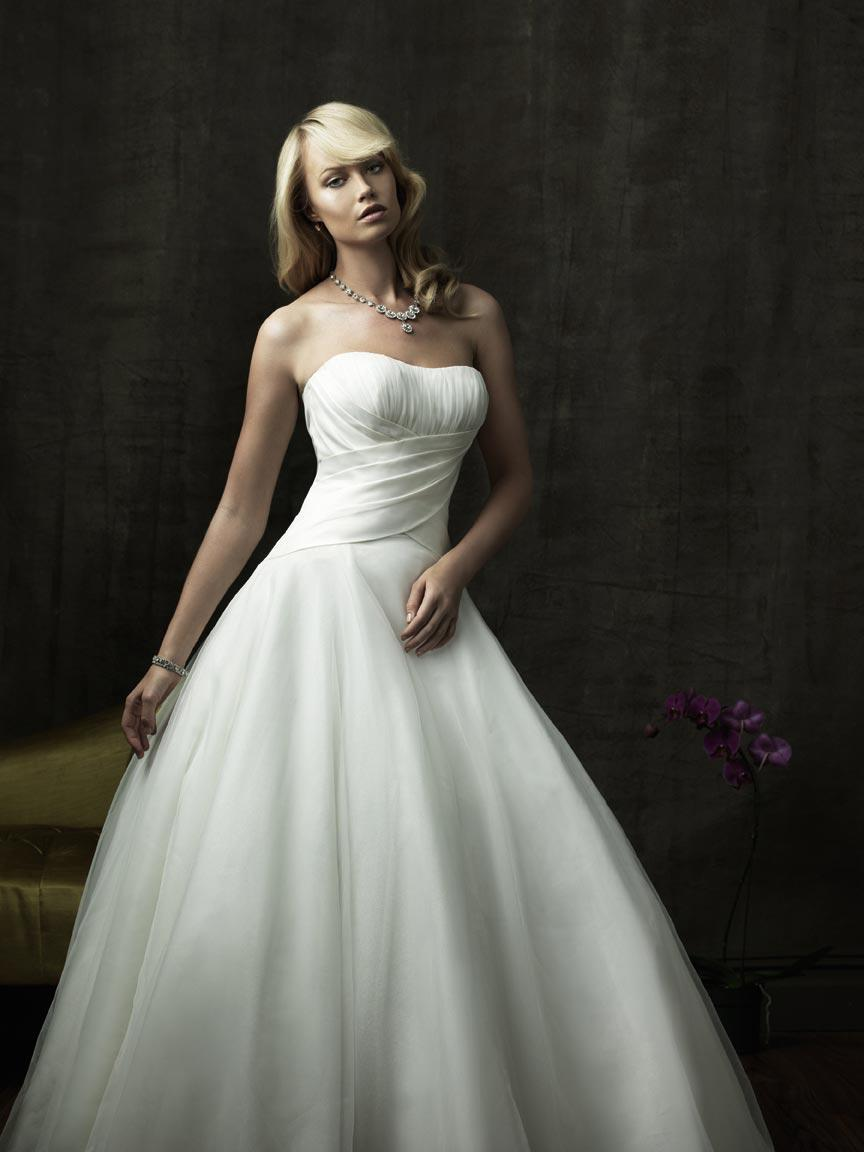 Strapless Scoop Tulle Taffeta Ball Gown Wedding Dress.  203.99