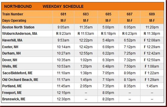 DE Northbound Schedule
