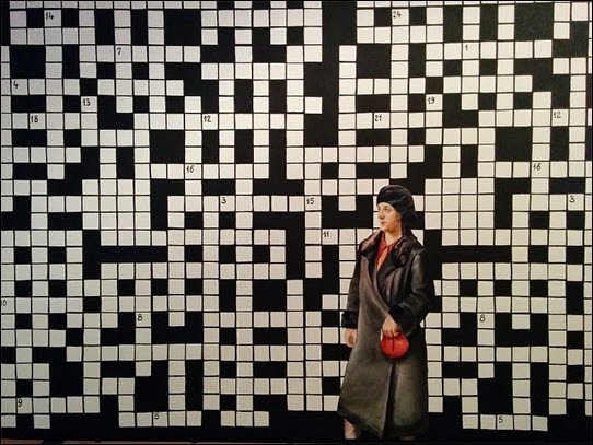 Crossword Puzzle with Lady in Black Coat: Paulina Olowska
