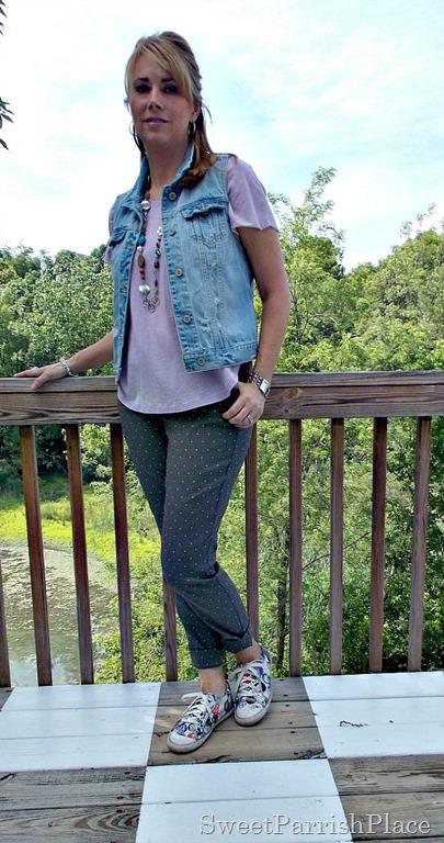grey polka dot pants, lilac high low shirt, denim vest, sneakers2