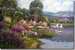 Antonio-Sannino-Farm-Blossom-Geese-SailBoats-24x36-BW2198