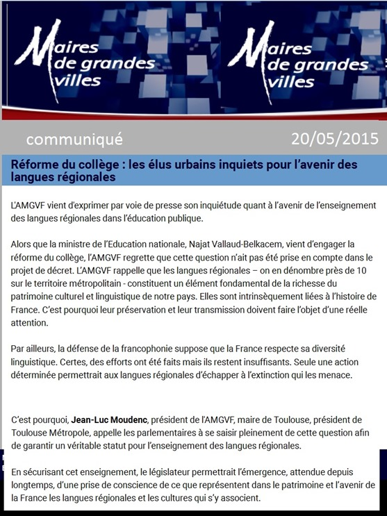 comunicat Cònsol de als grandas vilas de França