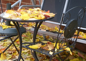 Осенние листья на столе и стульях в саду