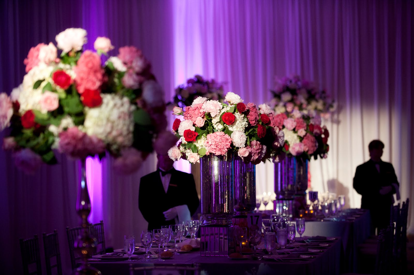 pink purple red wedding decor