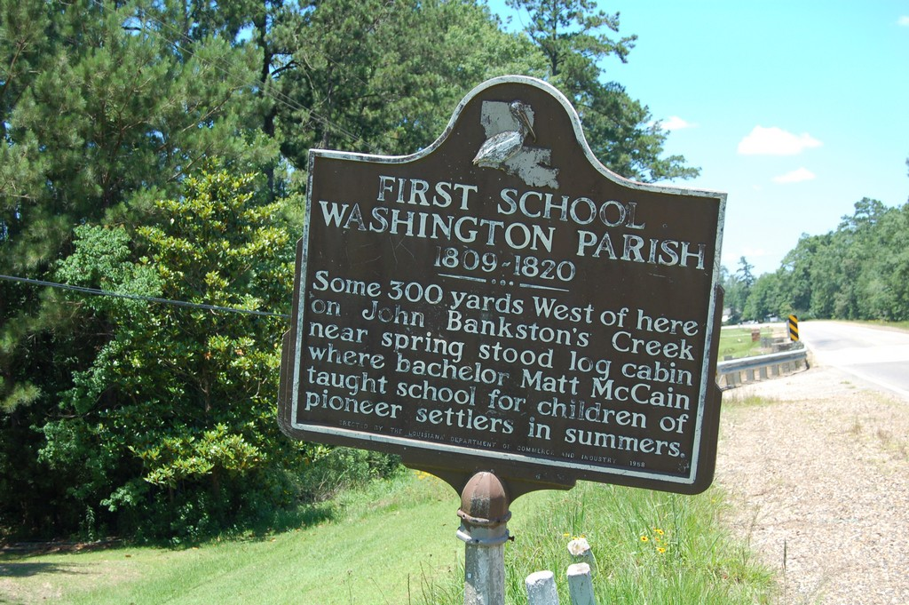 1809-1820Some 300 yards West of here on John Bankston's Creek near spring stood log cabin where bachelor Matt McCain taught school for children of pioneer settlers in summers.