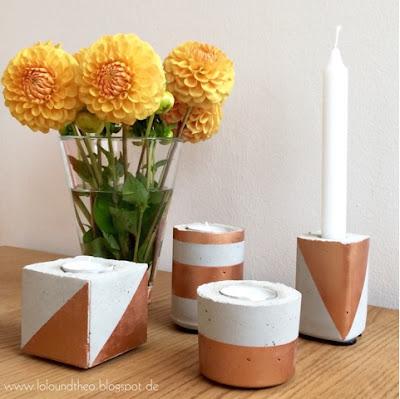 DIY Kerzenhalter aus Beton und Blumenvase mit Dahlien
