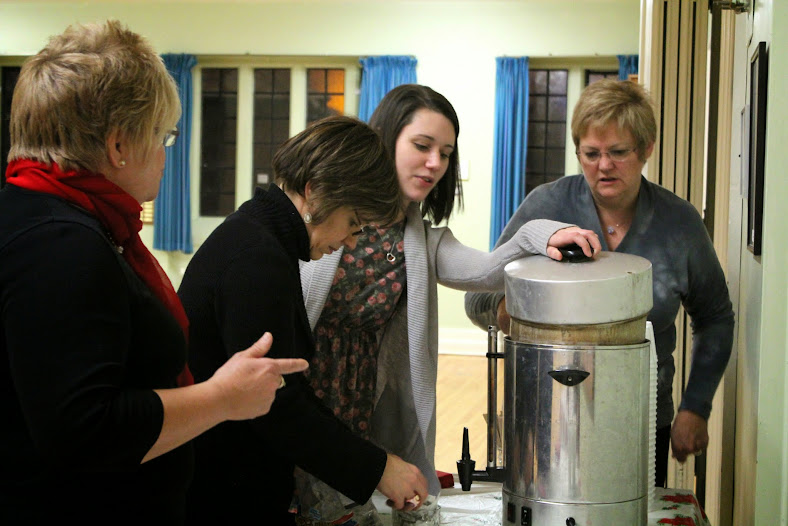 Manon, Josee, Nikki and Elise wrangle the coffee pot for the concert reception