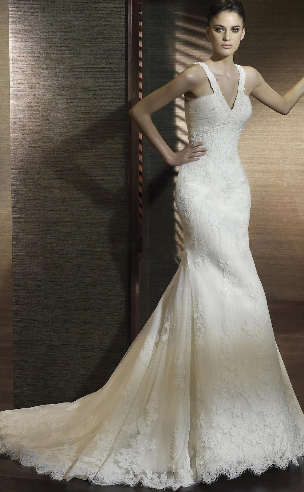 Lace Overlay Sweetheart Dropped Waist Luxury Wedding Dresses uw047.