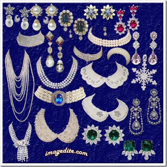 Jewelry of pearl clip arts psd