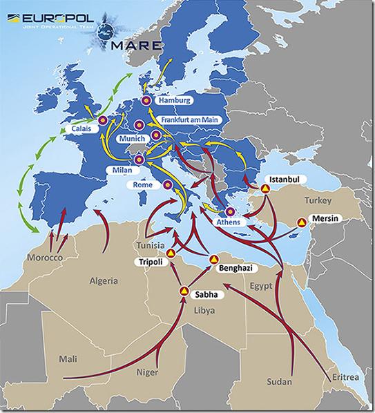 Migração Ilegal - rotas e pontos de distribuição (Europol 2015)