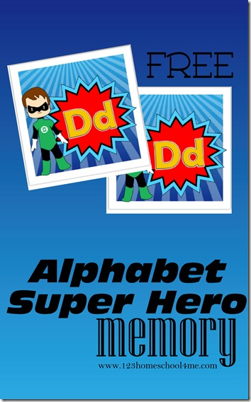 FREE Super Hero Alphabet Memory Game - what a fun way for kids to practice identifying alphabet letters (alphabet, preschool, kindergarten)