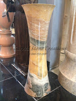 Polished Multi Marble Cylindrical Floor Vase
