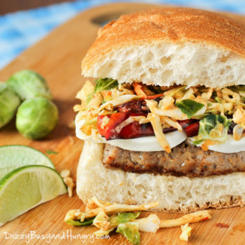 Sausage Mozzarella Sandwich with Chipotle Lime Slaw