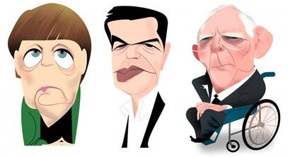 Merkel, Schäuble y Tsipras