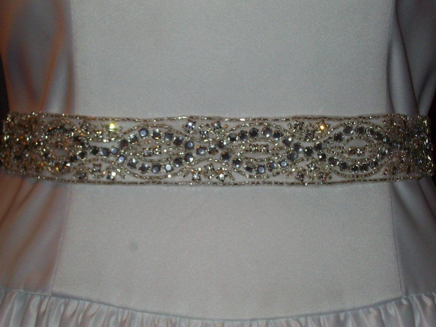 Bridal Sash, Crystal Sash - Renae Wedding Gown Sash or Belt of Rhinestones,