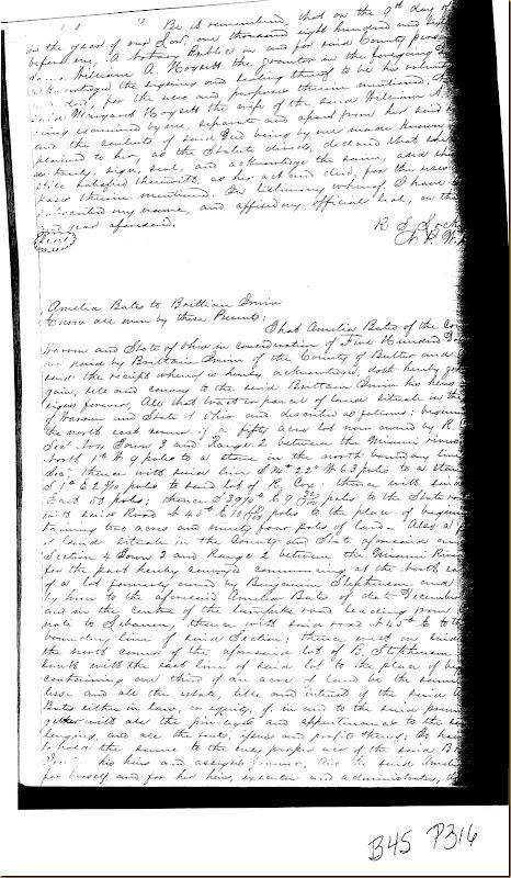 Amelia Bates of Warren County, Ohio convey land to Britton Moore Irwin 1868 1