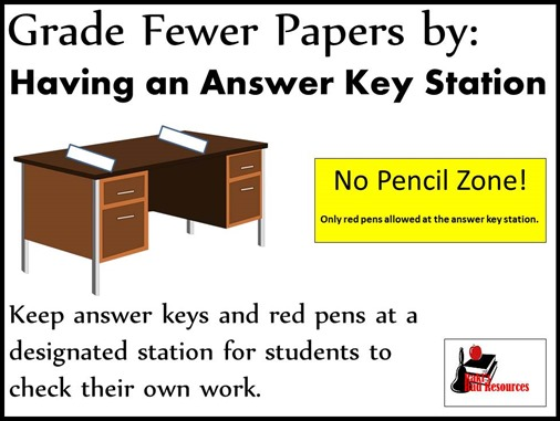 Grade Fewer Papers by having an answer key station