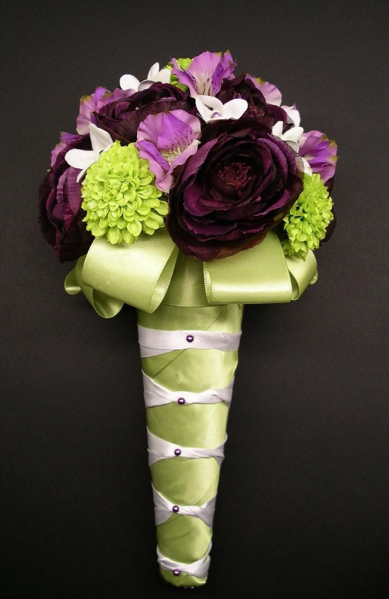 lime green and purple wedding