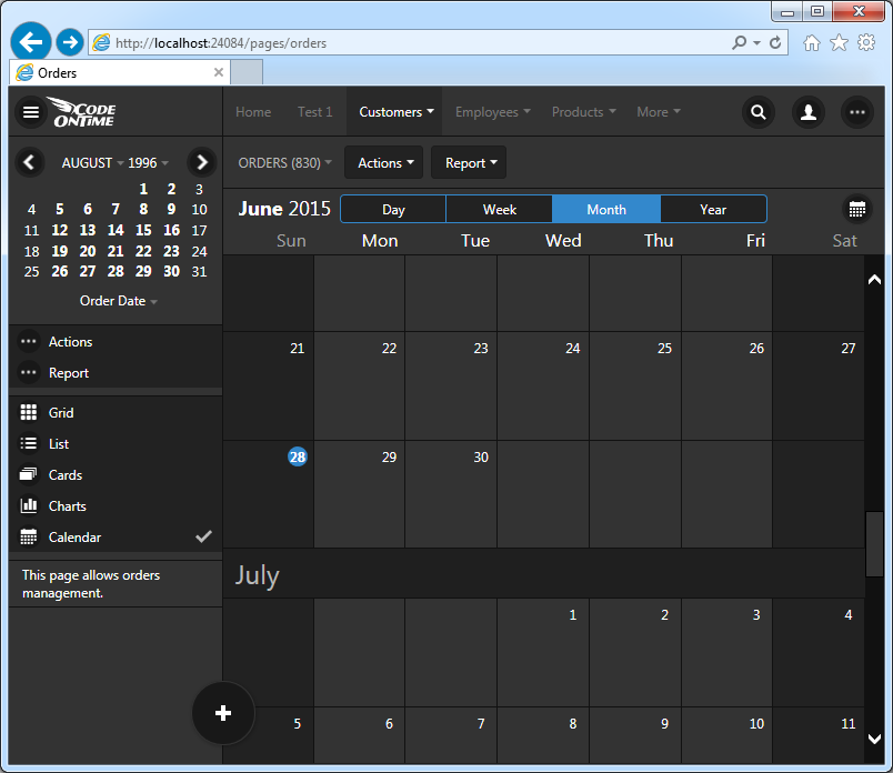 Month mode of Calendar view style in Touch UI