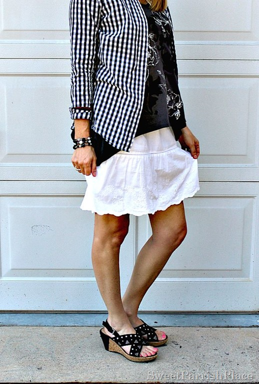 White skirt, grey and silver tank, plaid button down, black wedges1