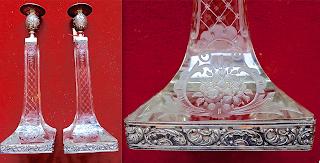 Пара подсвечников. Хрусталь, серебро. 19-й век. 10/10/30 см. 2500 евро.