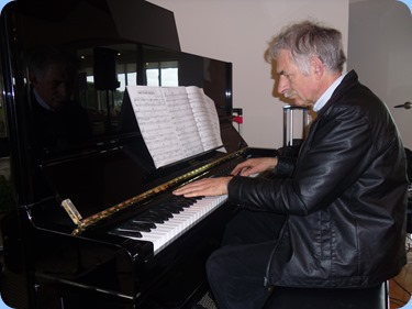 Claude Moffat playing the superb Wertheim piano. Photo courtesy of Delyse Whorwood.
