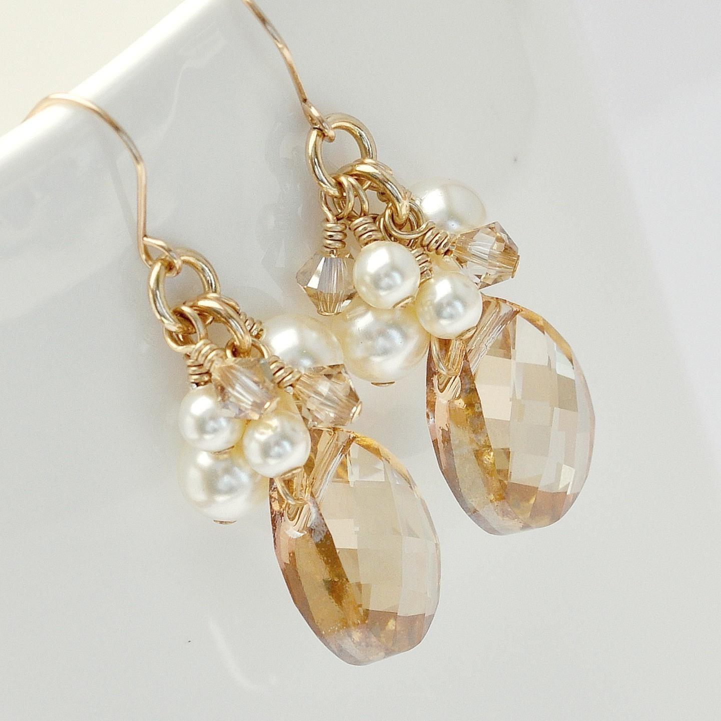 Bridesmaid Earrings, Gold