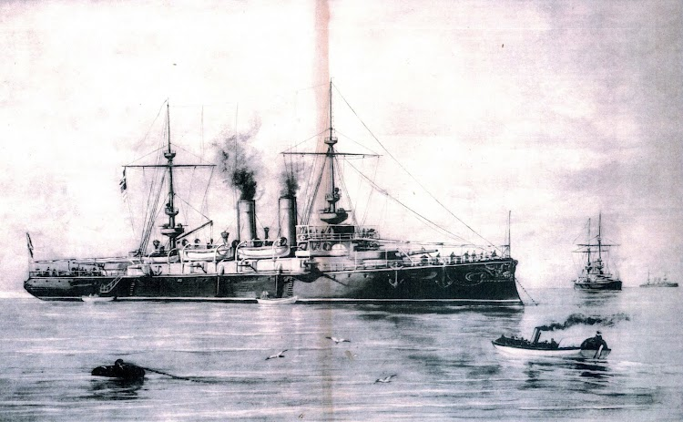 Los cruceros acorazados de la serie. Foto de la revista EL MUNDO NAVAL ILUSTRADO. Año 1898.jpg