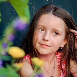 My colouring Door by Jiri Cetkovsky - Babies & Children Child Portraits ( colour, face, girl, door, flowers, portrait )