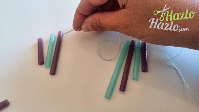 Cómo hacer una guirnalda con pajitas